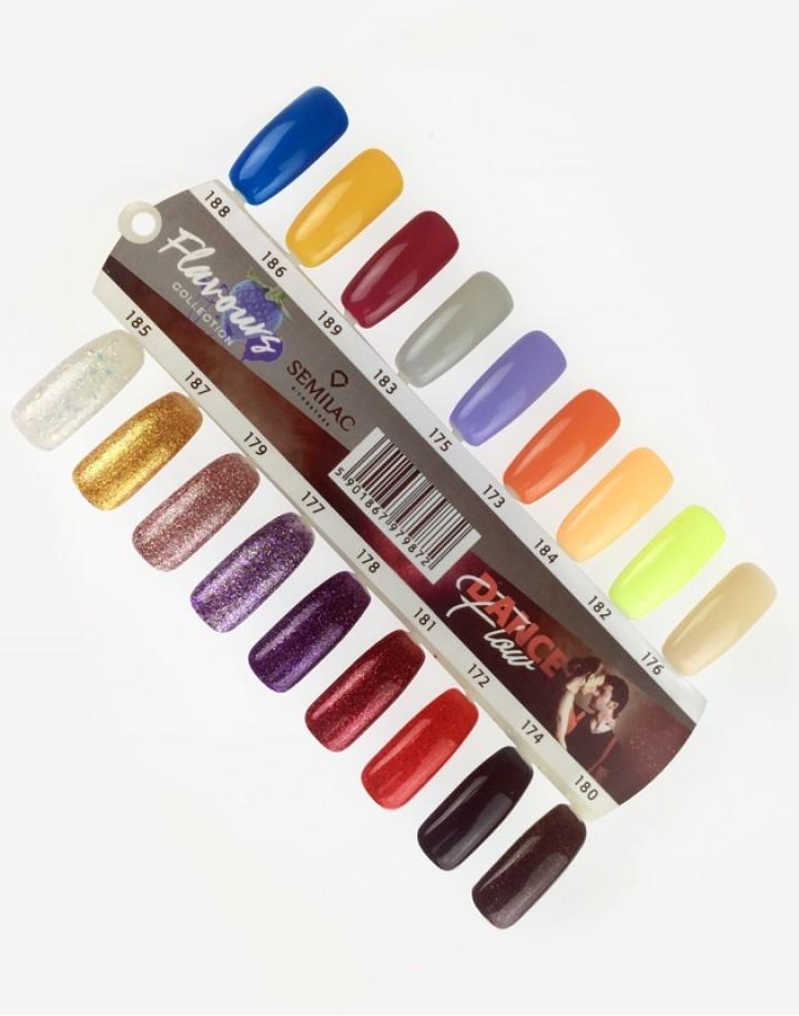 Hand-painted nail palette Semilac Dance Flow/Flavours - 18 colors