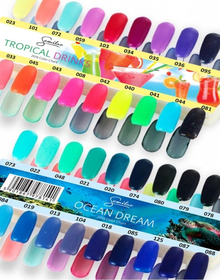 Hand-painted nail palette Semilac Ocean Dreams/Tropical Drinks – 36 colors