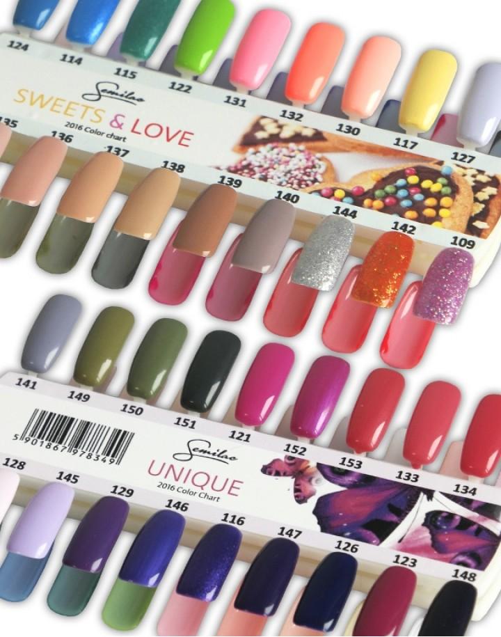 Hand-painted nail palette Semilac Sweets & Love + Unique 36 colors