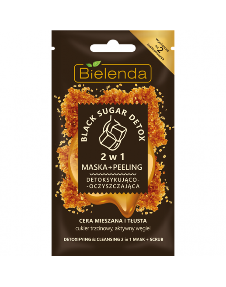 MASKA +PEELING DO TWARZY 8G BIELENDA BLACK SUGAR